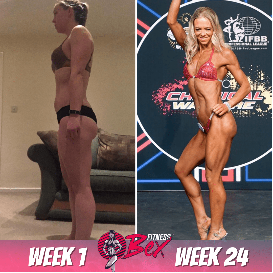 24 week transformation. Prep client for over 1 year. Built a stronger, more healthy relationship with food. Bikini competitor.