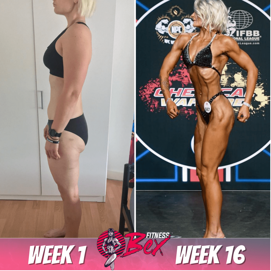16 week transformation. Prep client for over 1 year. Single mum working two jobs. Beginner figure competitor.